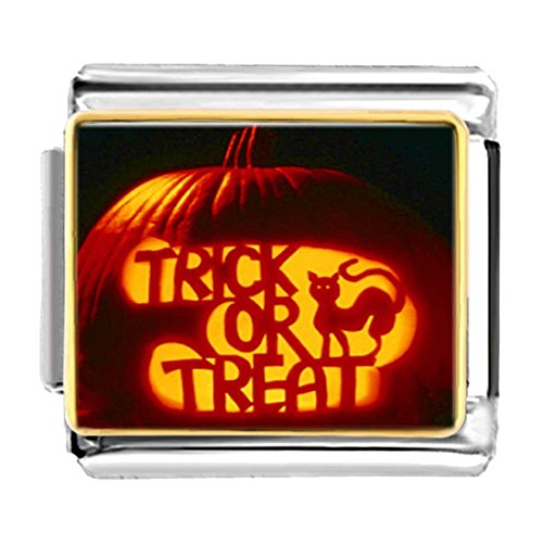 GiftJewelryShop Gold Plated trick or treat cat lantern pumpkin Bracelet Link Photo Italian Charms
