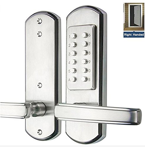 YAXINTRD Right Handed Keypad Digital Keyless Door Lock Entry Mechanical Lever Locks Security Code Password Combination Stainless Steel 304 Not Deadbolt