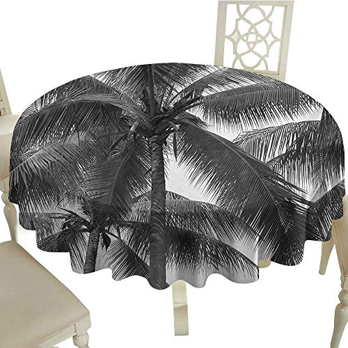 longbuyer Round Tablecloth Palm Tree,Palm Tree Silhouette Exotic Plant on Dark Theme Foliages Relaxing in Nature Image,Black D70,for Wedding Reception Nave Blue