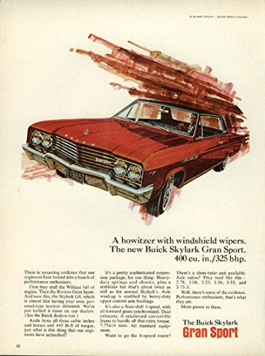 A howitzer with windshield wipers. Buick Skylark Gran Sport ad 1965 ()
