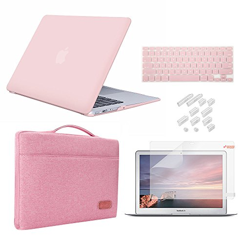 MacBook 12 Inch Retina Case Bundle 5 in 1,iCasso Ultra Slim Rubber Coated Plastic Cover with Sleeve,Screen Protector,Keyboard Cover &...