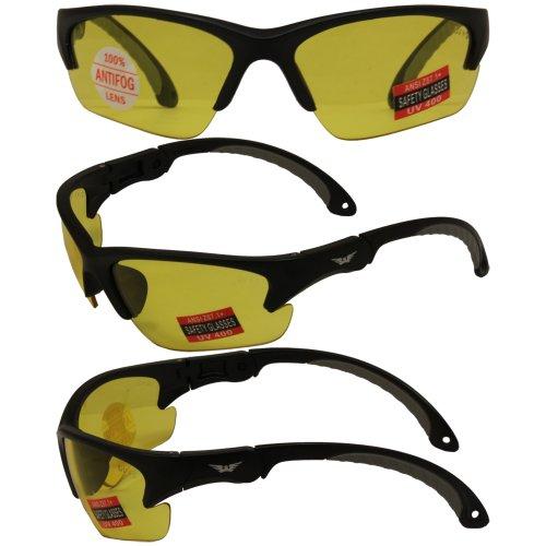 Global Vision Klick Safety Sunglasses Black Frame Yellow ()