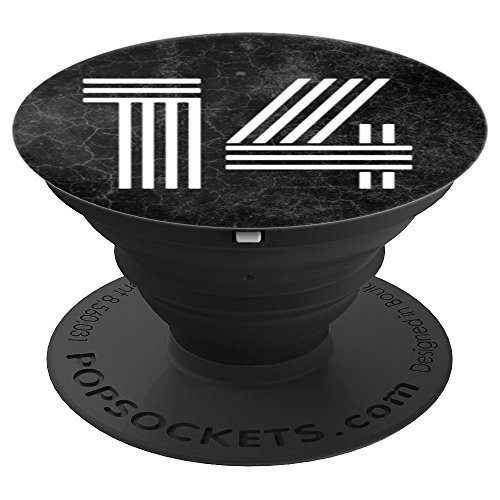 14 - Fourteen - 14th Birthday Gift Black Marble Slab - PopSockets Grip and Stand for Phones and Tablets