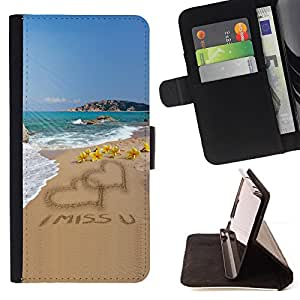 For HTC DESIRE 816 I Miss U Sand Love Heart Beach Ocean Summer Style PU Leather Case Wallet Flip Stand Flap Closure Cover