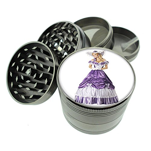 Dark Cool Gray / Titanium Zinc Metal Grinder Classic Western Saloon Girls Ladies Theme S8 4 Piece Diamond Cut Teeth 8oz Heavy Duty 4 Piece Saloon Girl