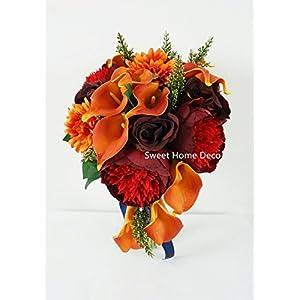 Sweet Home Deco 13'' Silk Artificial Gerbera Daisy Flower Bunch (W/ 7stems, 7 Flower Heads) Home/Wedding (Orange) 4