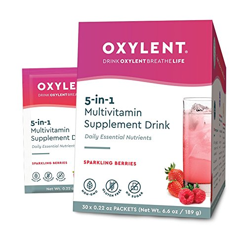 Oxylent, 5-in-1 Multivitamin Supplement Drink, Sparkling Berries, 30 Packet Box