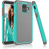Njjex Galaxy A6 Case, For Samsung A6 Case,[Nveins] Drop Protection Hybrid Dual Layers Hard Back + Soft Silicone Rubber Armor Defender Shockproof Slim Phone Cover For Samsung Galaxy A6 2018 [Turquoise]