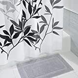 mDesign Bathroom Accessory Set, Leafy Shower Curtain, Spa Bath Mat/Rug - Set of 2, Black/Gray