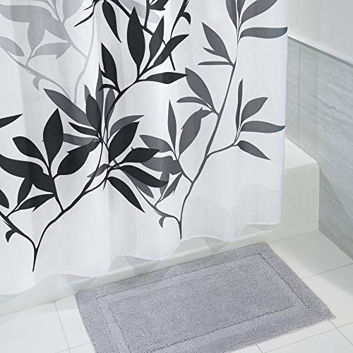 mDesign Bathroom Accessory Set, Leafy Shower Curtain, Spa Bath Mat/Rug - Set of 2, Black/Gray by mDesign