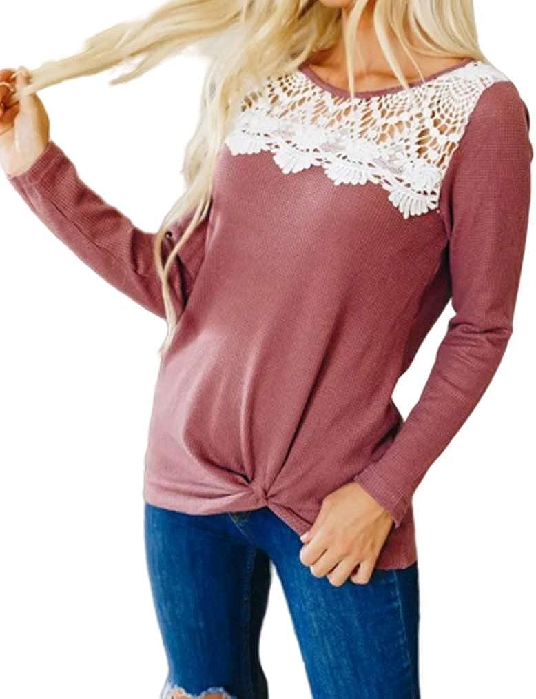 Miselon Womens Waffle Knit Twist Knot Tops Long Sleeve Crochet Lace Shirt Blouse