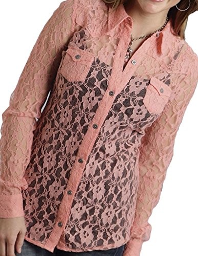 Roper Womens Pink 100% Nylon L/S Allover Lace Classic Retro Button Shirt (Roper Retro Shirt)