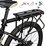 WESTGIRL Bike Rack – Bicycle Cargo Rack with Fender Board, 310LB Capacity Solid Loads Touring Carrier, Height Adjustable Quick Release Seatpost Mount, Cycling Equipment
