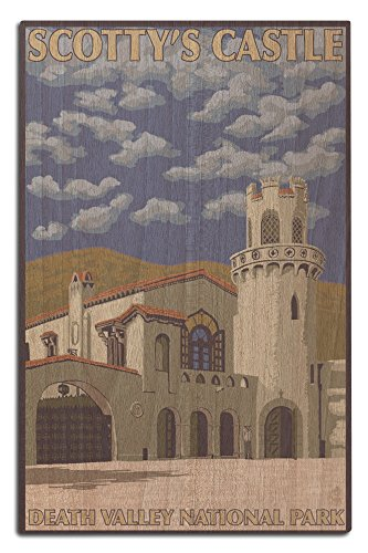Lantern Press Death Valley, California- Scotty's Castle (12x18 Wood Wall Sign, Wall Decor Ready to Hang)