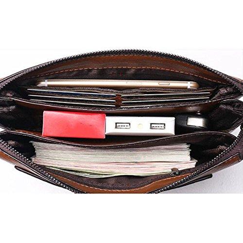 Mano de PU Billetera para de de LEIU Hombres Mano Hombre Bolso Bolso de Embrague Khaki Bolso Billetera Negocios Mano Bolsa TgYncBxXc