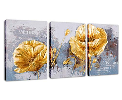 SkywardArt Wall Art Painting inFlower Wall Art Golden Vivid Flower Floral Canvas Print in 3 Pieces Abstract Painting Still Life Canvas Wall Art for Home Decor