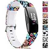 Maledan Patterned Bands Compatible with Fitbit Inspire HR/Inspire/Ace 2, Fadeless Pattern Printed Strap Accessories Replacement Band for Inspire HR Fitness Tracker and Ace 2, Women Men Large Small