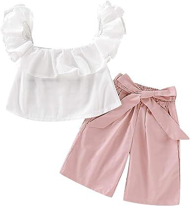 DaMohony 2pcs Blusa bebé niña con Volantes niña Camisa Superior + Pantalones Bowknot Trajes Ropa Conjunto niña: Amazon.es: Ropa y accesorios
