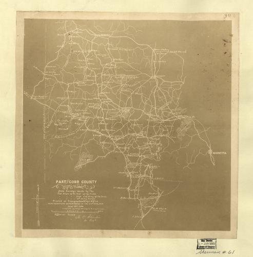 1864 Map Part of Cobb County, Georgia - Size: 24x24 - Ready to Frame - Cobb County | Georgia | - Best Buy Georgia Store Locator