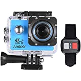 Andoer AN4000 WiFi 4K 30fps 16MP Action Sports Camera 1080P 60fps Full HD 4X Zoom Waterproof 40m 2 LCD Screen 170° Wide Angle Lens Support Slow Motion Drama Photography with Remote Control