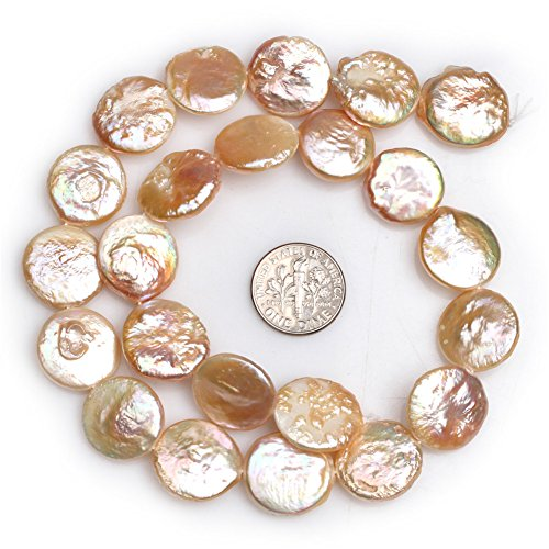 Joe Foreman Freshwater Cultured Pearl Beads for Jewelry Making Natural Gemstone 17mm Pink Coin (Pink Coin Pearl Bracelet)