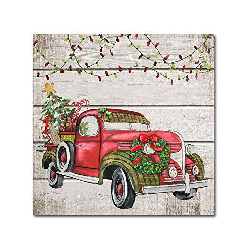Trademark Global Jean (Vintage Christmas Truck 2 by Jean Plout, 35x35-Inch Canvas Wall Art)