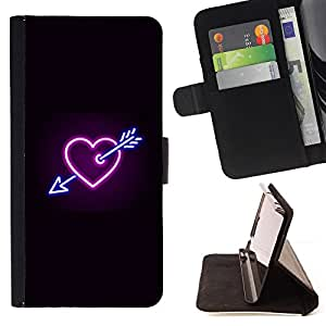 BullDog Case - FOR/Samsung Galaxy S4 IV I9500 / - / heart neon black heartbreak sign cool /- Monedero de cuero de la PU Llevar cubierta de la caja con el ID Credit Card Slots Flip funda de cuer