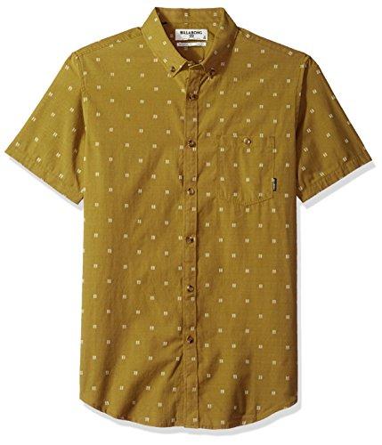 Billabong Men's All Day Jaquard Short Sleeve Shirt, Walnut, L