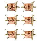 6 Pcs Traditional Indian Copper Sigdi Food Warmer Hotelware Angeethi Tableware