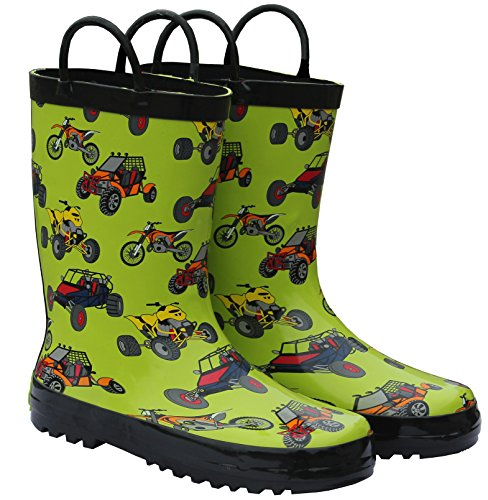 Foxfire for Kids green with ATV's Rubber Boots size 1 (Kids Dirt Bike Boots Size 1)