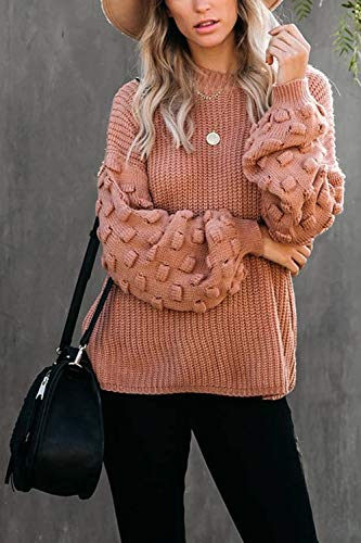 Sovoyontee Women's Cute Oversized Crewneck Loose Puff Sleeves Chunky Knit Pullover Sweater
