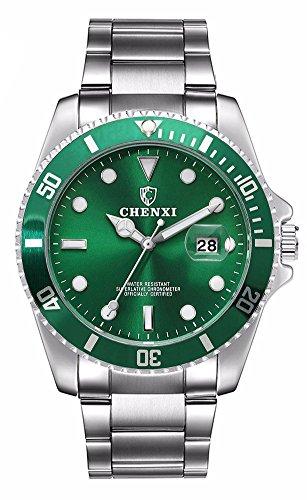 Men Silver Stainless Steel Watches Rotatable Bezel Calendar Waterproof Green Dial Luminous Wristwatch (green) -