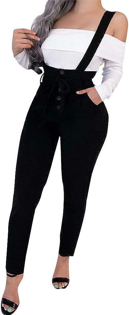 Minetom Femme Fille Salopette Casual Chic Solide Jumpsuit Playsuit Pantalon Combinaison avec Poches