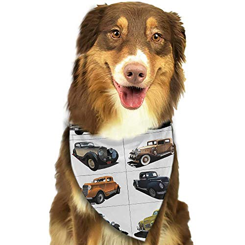 Custom pet Scarf Cars Rare Fifties Vintage Cars with Closed Roof Tops Original Timeless Automobile Graphic W27.5 xL12 Scarf for Small and Medium Dogs and Cats]()