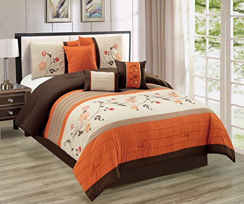 Serene 7-piece Embroidered Floral Scroll Pleated Orange/Chocolate/Taupe/Tan Bedding Comforter Set (108