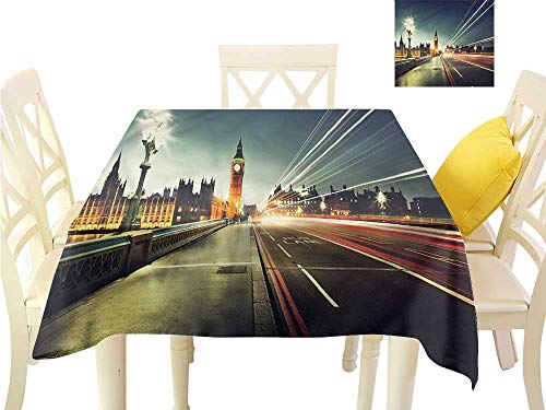 WilliamsDecor Kitchen Table Cover London,Big Ben Urban Cityscape Printed Tablecloth W 54