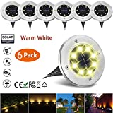 NICPAY Solar Ground Lights, 8 LED Garden Pathway Outdoor In-Ground Lights, Landscape Walkway Waterproof In-Ground Solar Lights Lawn Patio Yard Deck Lighting 6 Pack (Warm White)