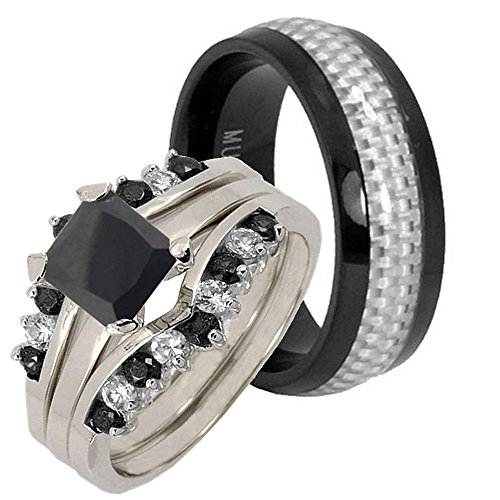 His Her 4 pcs Titanium Carbon Fiber & Silver 925 Square Black Cubic Zirconia Bridal Ring Set Sz 10, 10