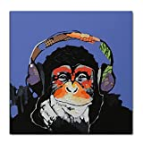 V-inspire Art, 24X24Inch 100% Hand Painted Paintings Listen to Music Gorilla Abstract Art Large Wall Art For Living Room Artwork on Canvas Ready To Hang Framed Art For Bedroom Living Room