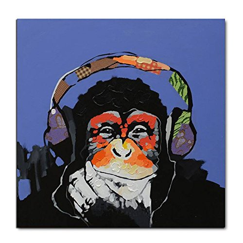 V-inspire Art, 24X24Inch 100% Hand Painted Paintings Listen to Music Gorilla Abstract Art Large Wall Art For Living Room Artwork on Canvas Ready To Hang Framed Art For Bedroom Living Room by V-inspire