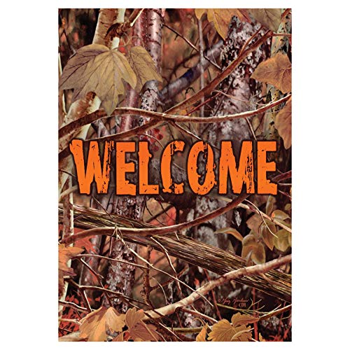 """"""" BLAZE ORANGE CAMO WELCOME """" – Double Sided STANDARD Size Decorative Flag 28 X 40 Inches For Sale"""