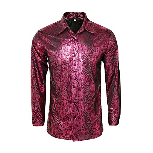 AMNPOLEN Mens Metallic Shiny Nightclub Costume Sequins Snakeskin Shirt Long Sleeve Slim Fit Button Down 70s Disco Party Fancy Dress Props (X-Large, Red B) -