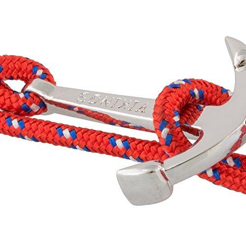 Vikings Wrap Bracelet Rouge Ancre Argent