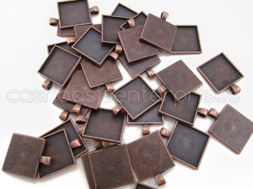 Metal Cast Charms (20 CleverDelights Square Pendant Trays - Antique Copper Color - 1 Inch - 25mm - Pendant Blanks Cameo Bezel Settings Photo Jewelry - Custom Jewelry Making - 1