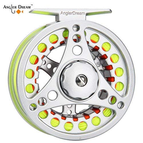 (AnglerDream 7 8WT Fly Reel with Line Combo Large Arbor Aluminum Fly Fishing Reels)