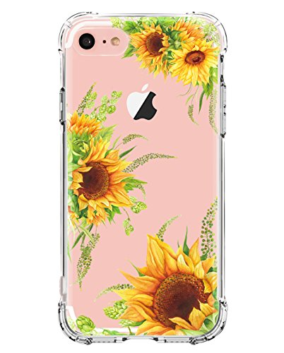 iPhone 6 Plus Case,iPhone 6S Plus Case with Flowers,LUOLNH Slim Shockproof TPU Bumper Soft Protective Flexible Silicone Skin Cover Case for iPhone 6 Plus/ 6S Plus -3 Sunflower
