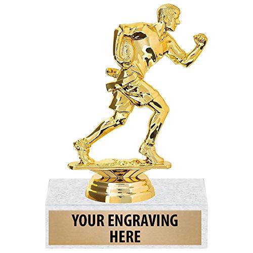"6"" Gold Flag Football Trophies - Male Football Award Trophy"