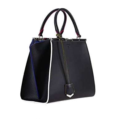 80781131f9 Amazon.com  Fendi Bag 2Jours Calf Leather Lamb Black Iris Palladium  Hardware Handbag 8BH279-3WC  Clothing