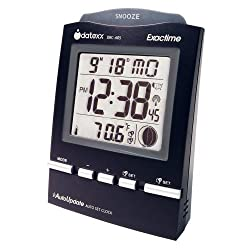 Datexx DRC-605BK Radio Control Alarm Clock with Month/Day and Temperature, Black