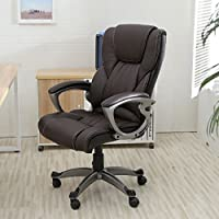ChairMan Office Chair , Desk Chair , Brown PU Leather High Back Office Chair Executive Task Ergonomic Computer Desk